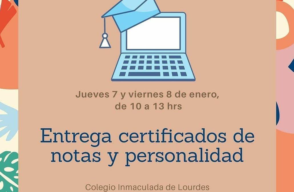 Entrega de certificados de promoción e informes de personalidad 2020